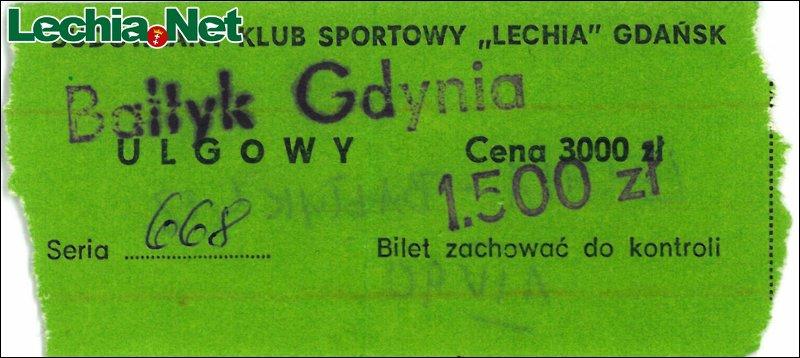 Bilet z meczu Lechia-Bałtyk Gdynia