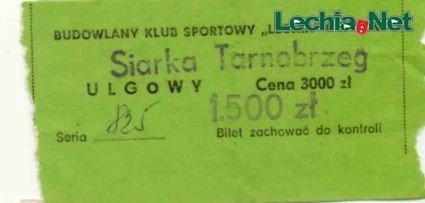 Bilet z meczu Lechia-Siarka Tarnobrzeg