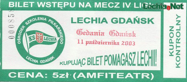 Bilet z meczu Lechia-Gedania