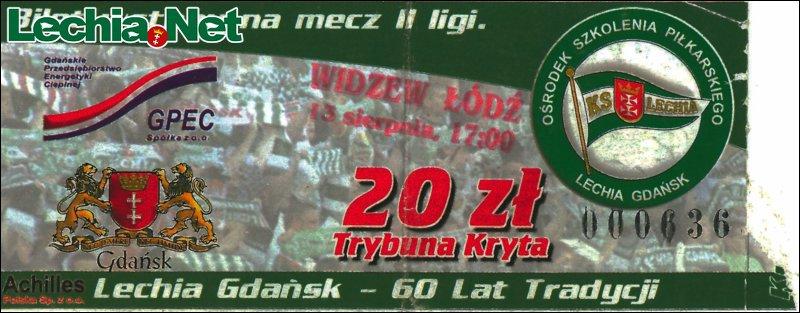 Bilet z meczu Lechia-Widzew Łódź