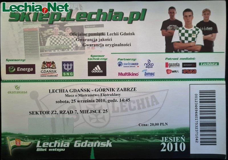 Bilet z meczu Lechia-Górnik Zabrze