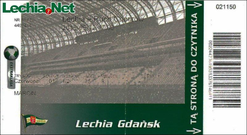 Bilet z meczu Lechia-Ruch Chorzów