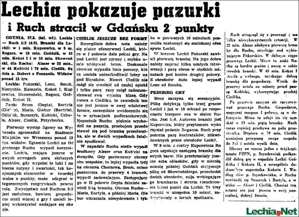 Relacja prasowa z meczu Lechia-Ruch Chorzów
