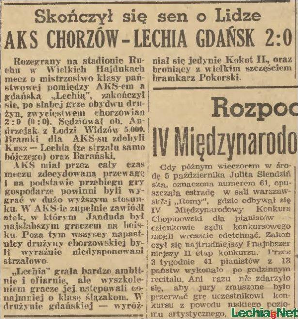 Relacja prasowa z meczu AKS Chorzów-Lechia