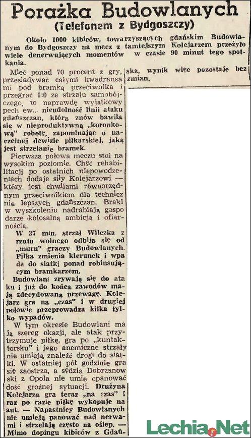 Relacja prasowa z meczu Brda Bydgoszcz-Lechia