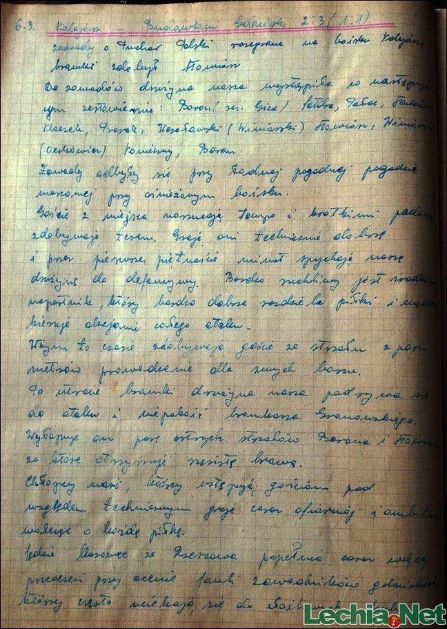 1955.03.07 Relacja z kroniki klubowej Sandecji