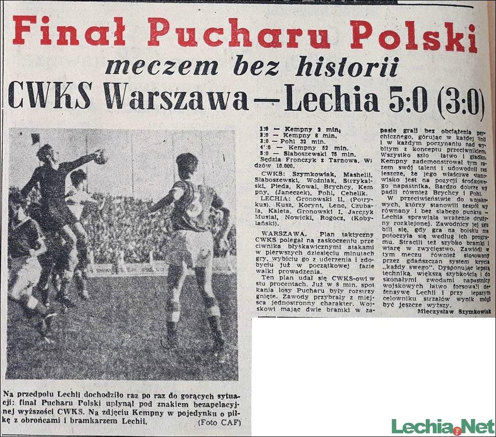 1955.10.03.Finał Pucharu Polski meczem bez historii