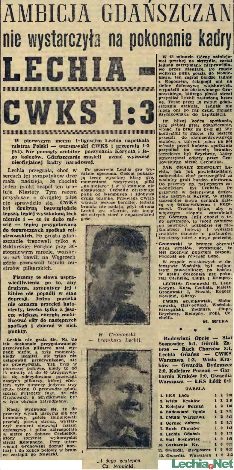 1956.03.19 Relacja prasowa z meczu Lechia-Legia Warszawa