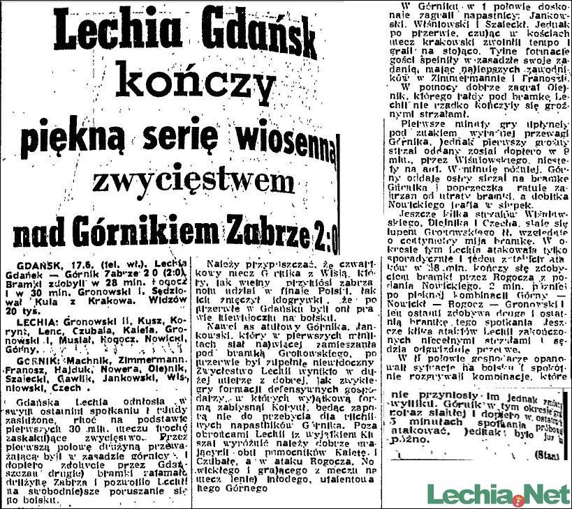 1956.06.18 Relacja prasowa z meczu Lechia-Górnik Zabrze