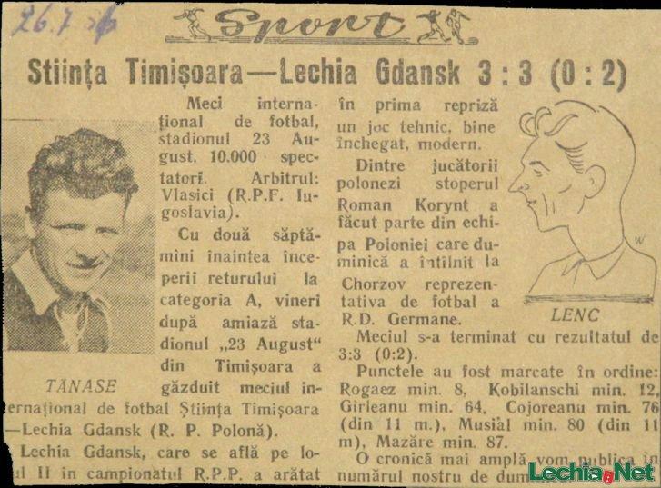 1956.07.26 Relacja prasowa z meczu Știința Timișoara-Lechia