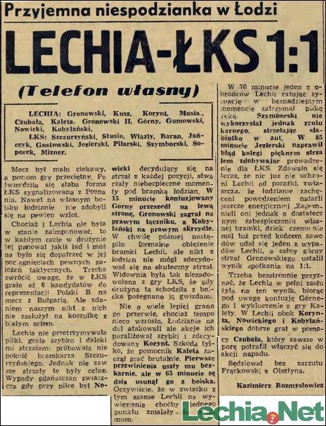 1956.08.20 Relacja prasowa z meczu ŁKS Łódź-Lechia