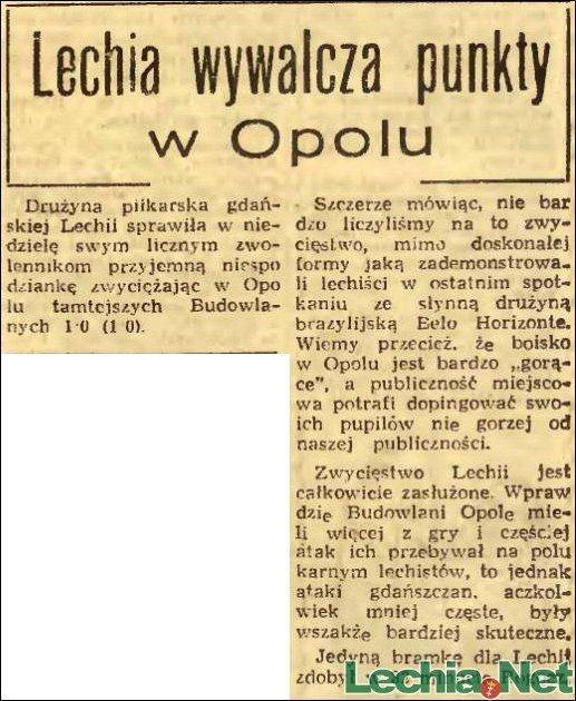 1956.10.15 Relacja prasowa z meczu Budowlani Opole-Lechia