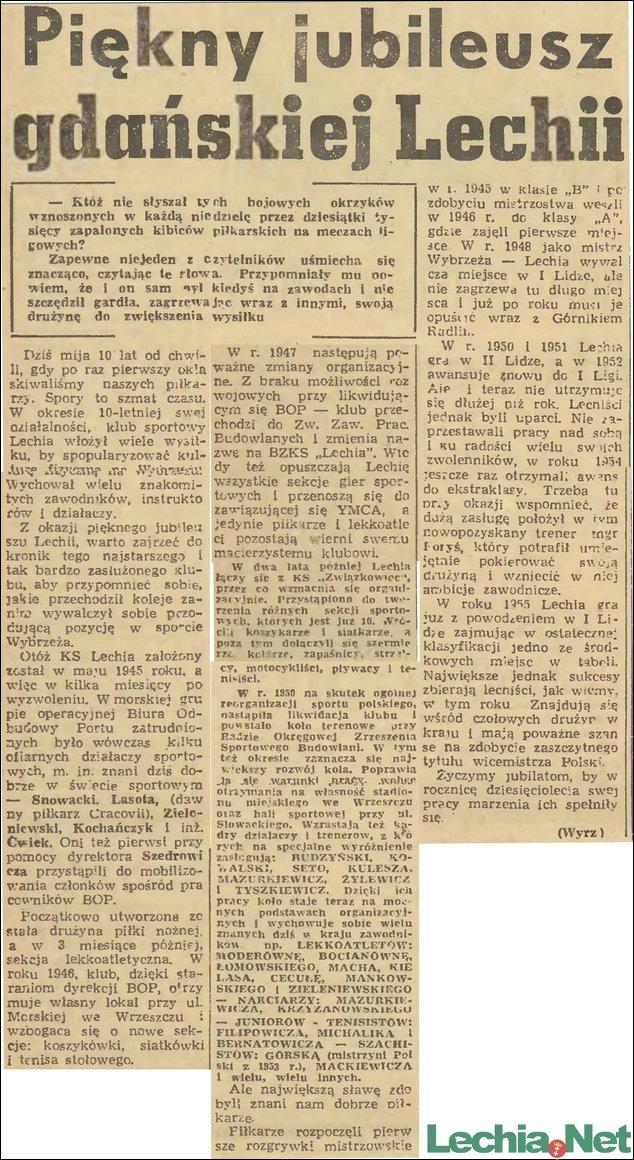 1955.10.18 Piękny jubileusz gdańskiej Lechii