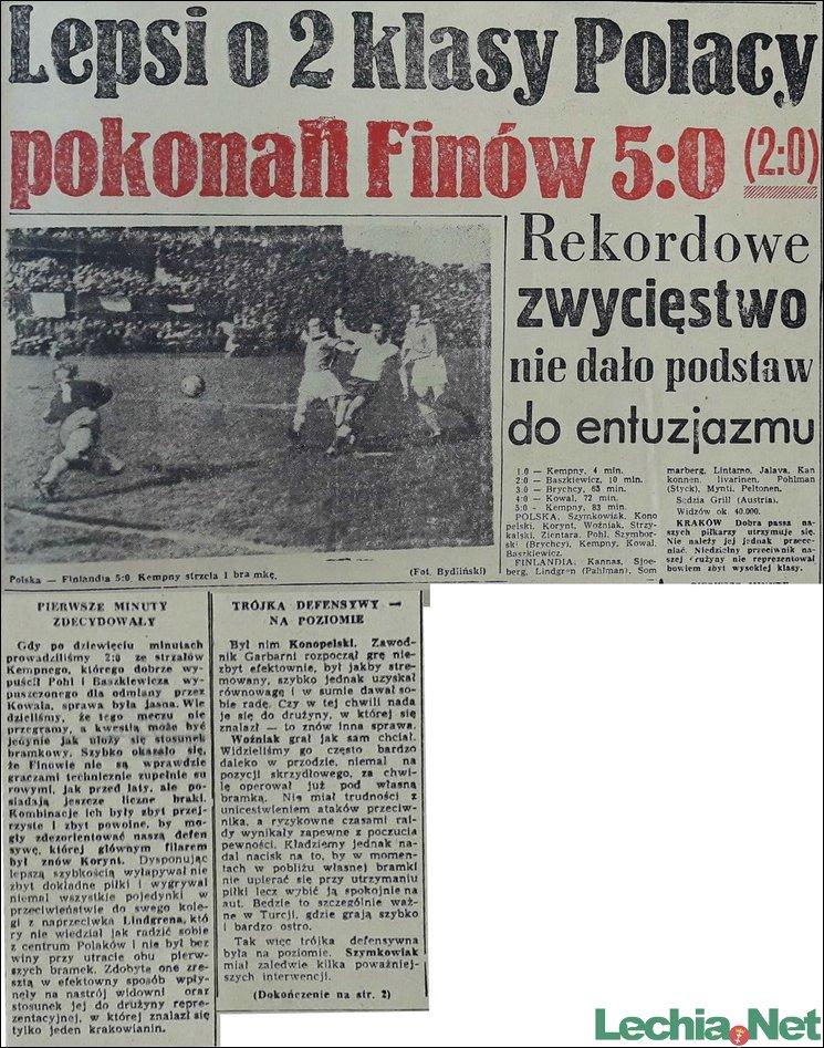 1956.11.05 Relacja prasowa z meczu Polska-Finlandia