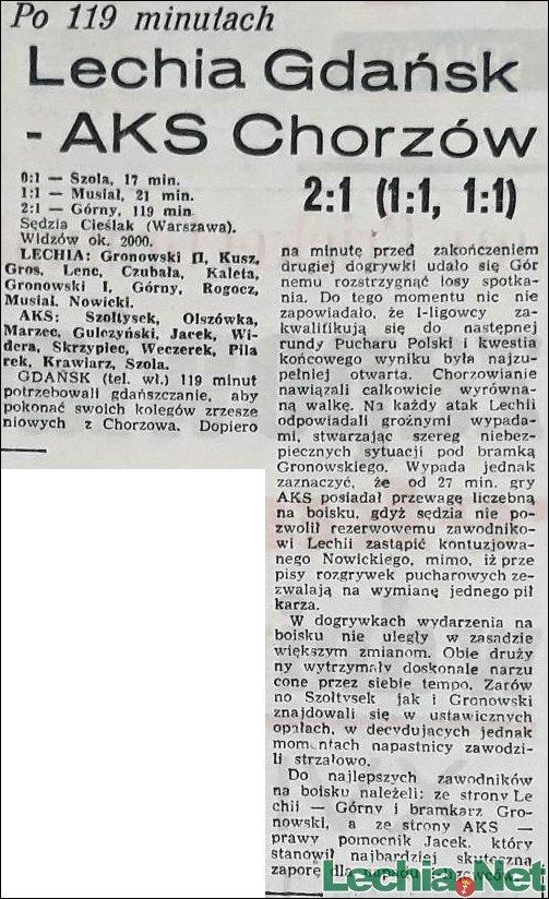 1955.11.19 Relacja z meczu Lechia-AKS Chorzów