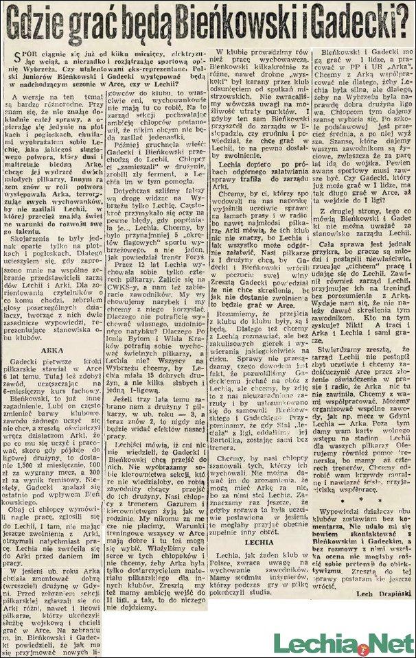 1957.02.26.Gdzie będą grać Bieńkowski i Gadecki?