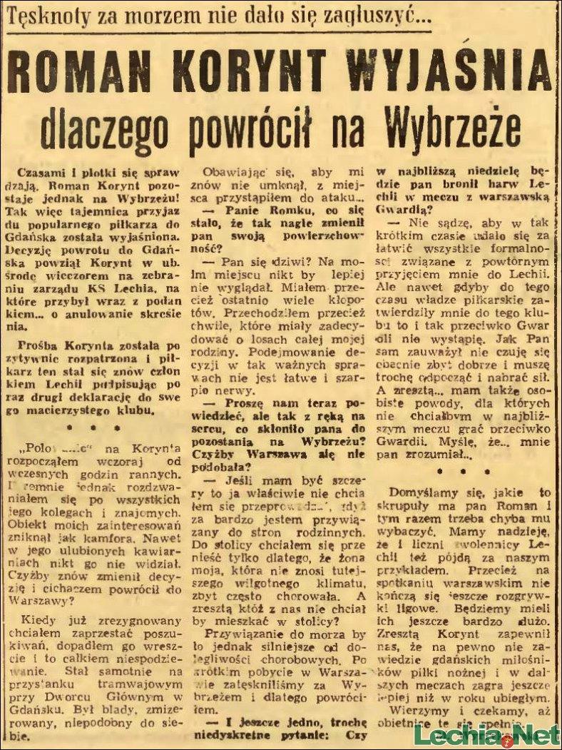 1958.04.18.Roman Korynt wyjaśnia, dlaczego wrócił na Wybrzeże