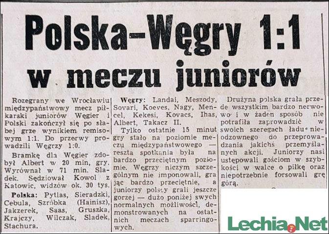 1958.09.15.Polska-Węgry 1:1 w meczu juniorów