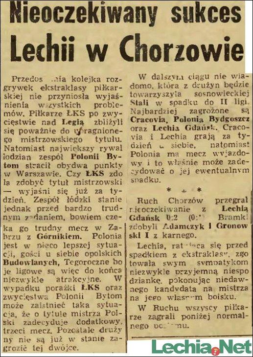Relacja prasowa z meczu Ruch Chorzów-Lechia Gdańsk