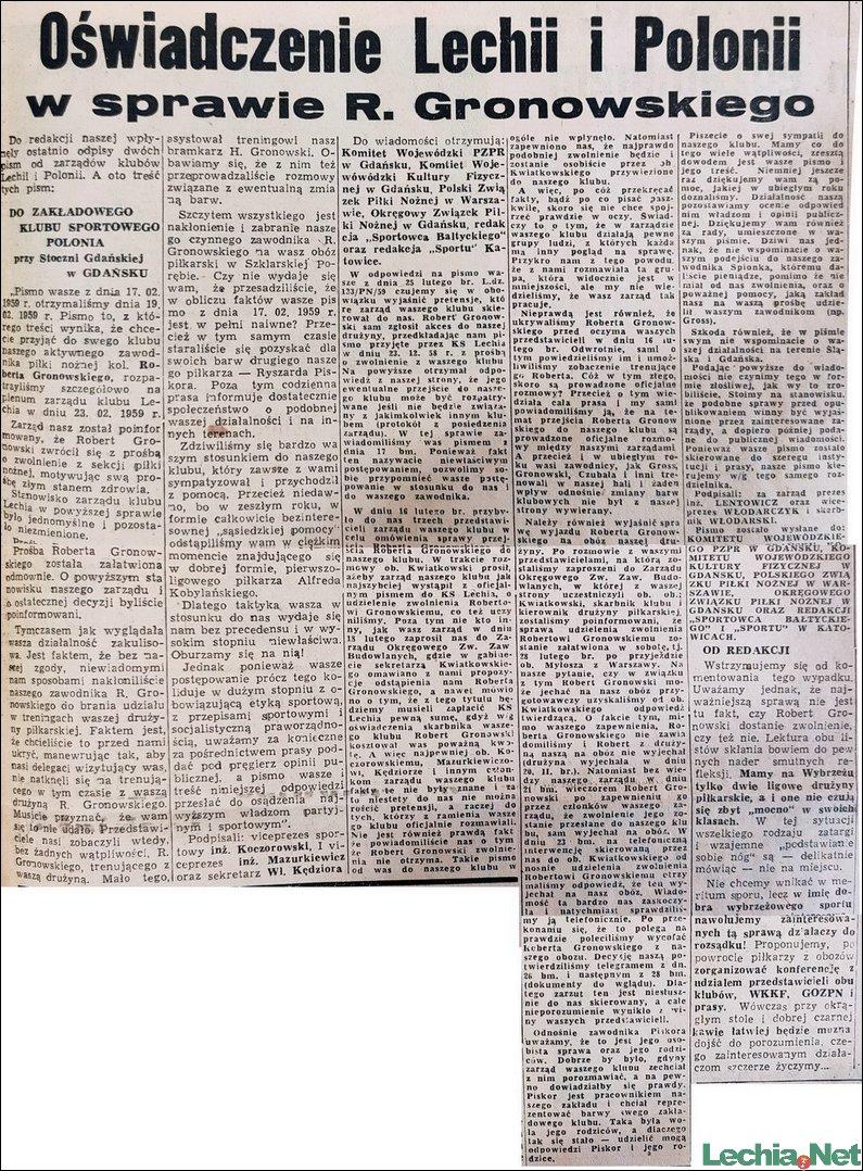 1959.03.02.Oświadczenie Lechii i Polonii w sprawie R.Gronowskiego
