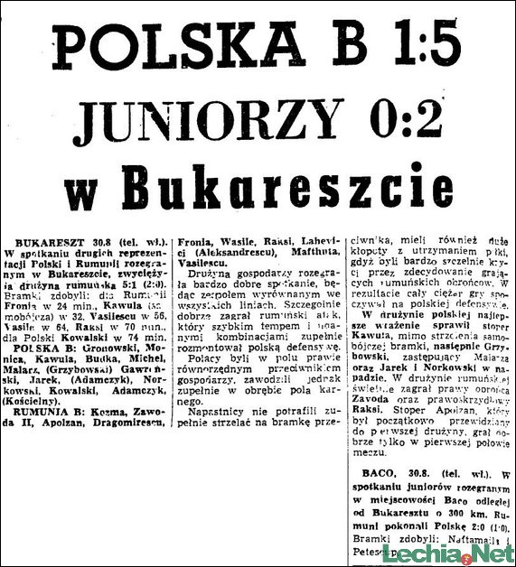 1959.08.31.Polska B 1:5 w Bukareszcie