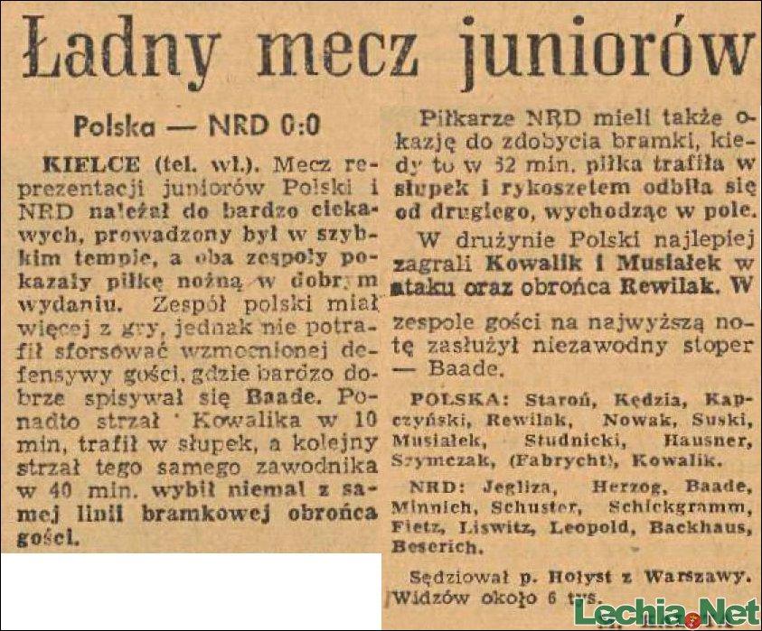 1960.08.22.Ładny mecz juniorów Polska-NRD 0:0