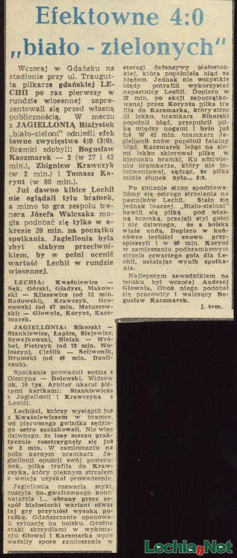 Relacja prasowa z meczu Lechia-Jagiellonia Białystok