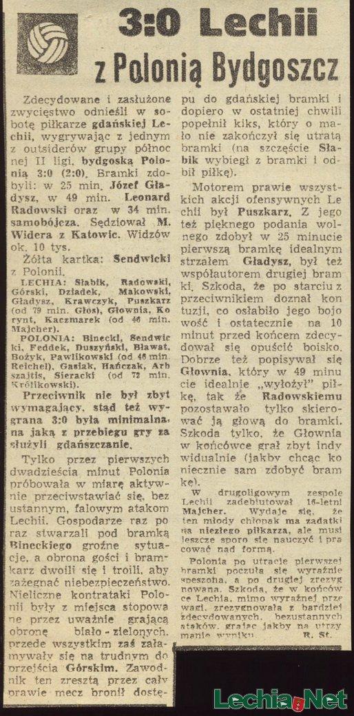 Relacja prasowa z meczu Lechia-Polonia Bydgoszcz