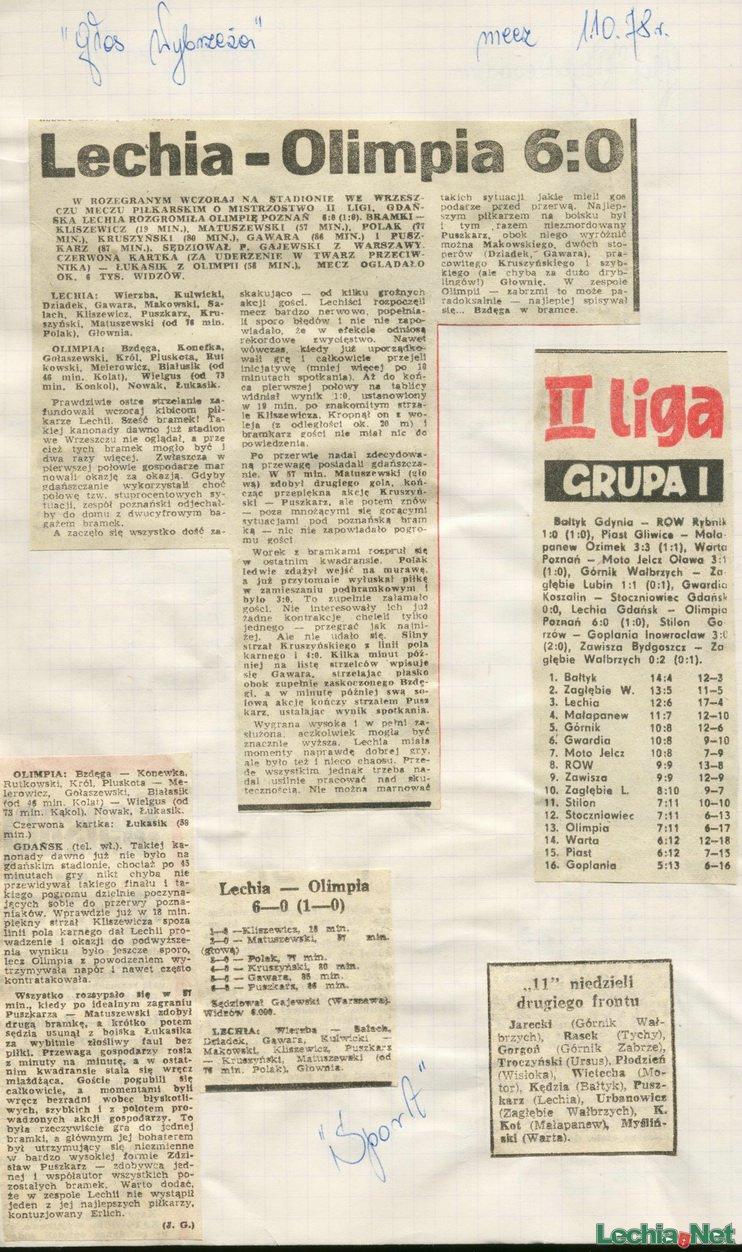 Relacja prasowa z meczu Lechia-Olimpia Poznań