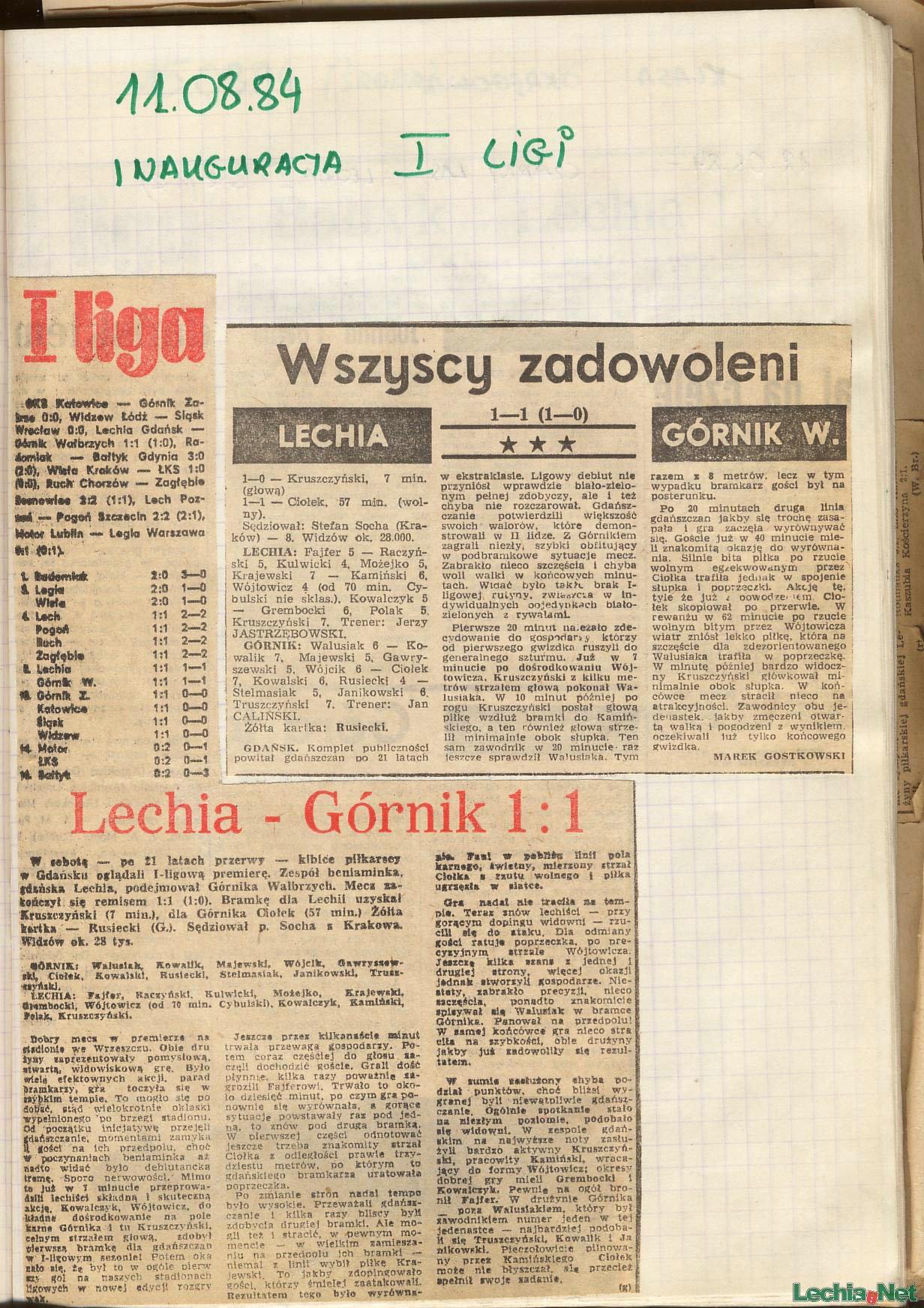 Relacja prasowa z meczu Lechia-Górnik Wałbrzych