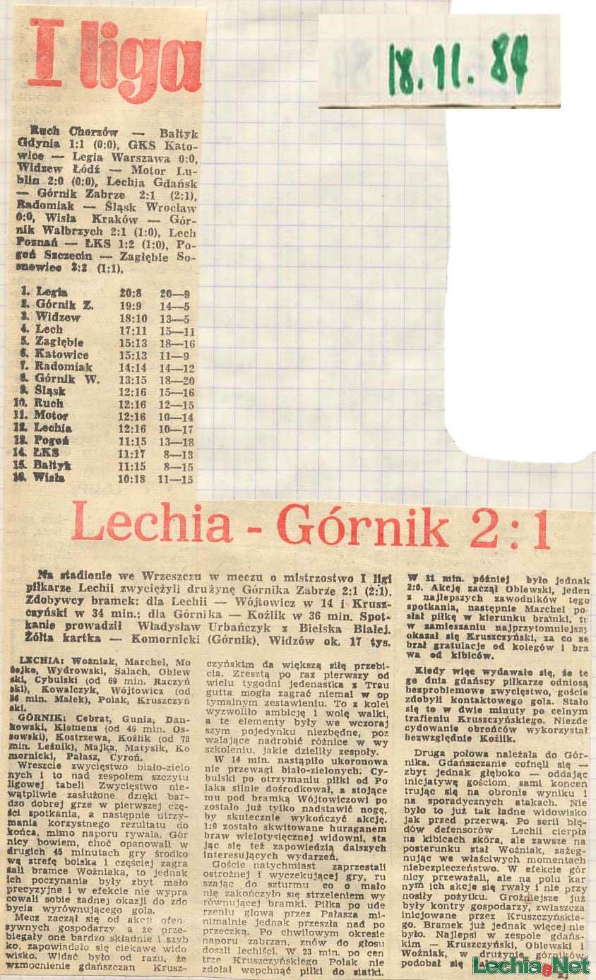 Relacja prasowa z meczu Lechia-Górnik Zabrze