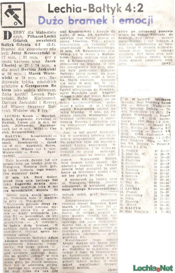 Relacja prasowa z meczu Lechia-Bałtyk Gdynia