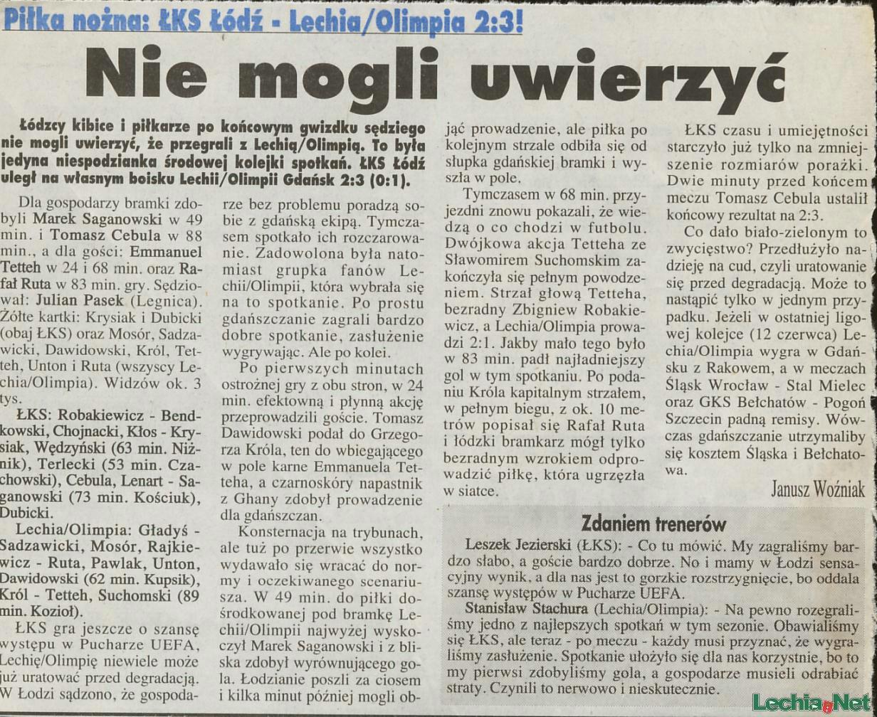 Relacja prasowa z meczu ŁKS Łódź-Lechia