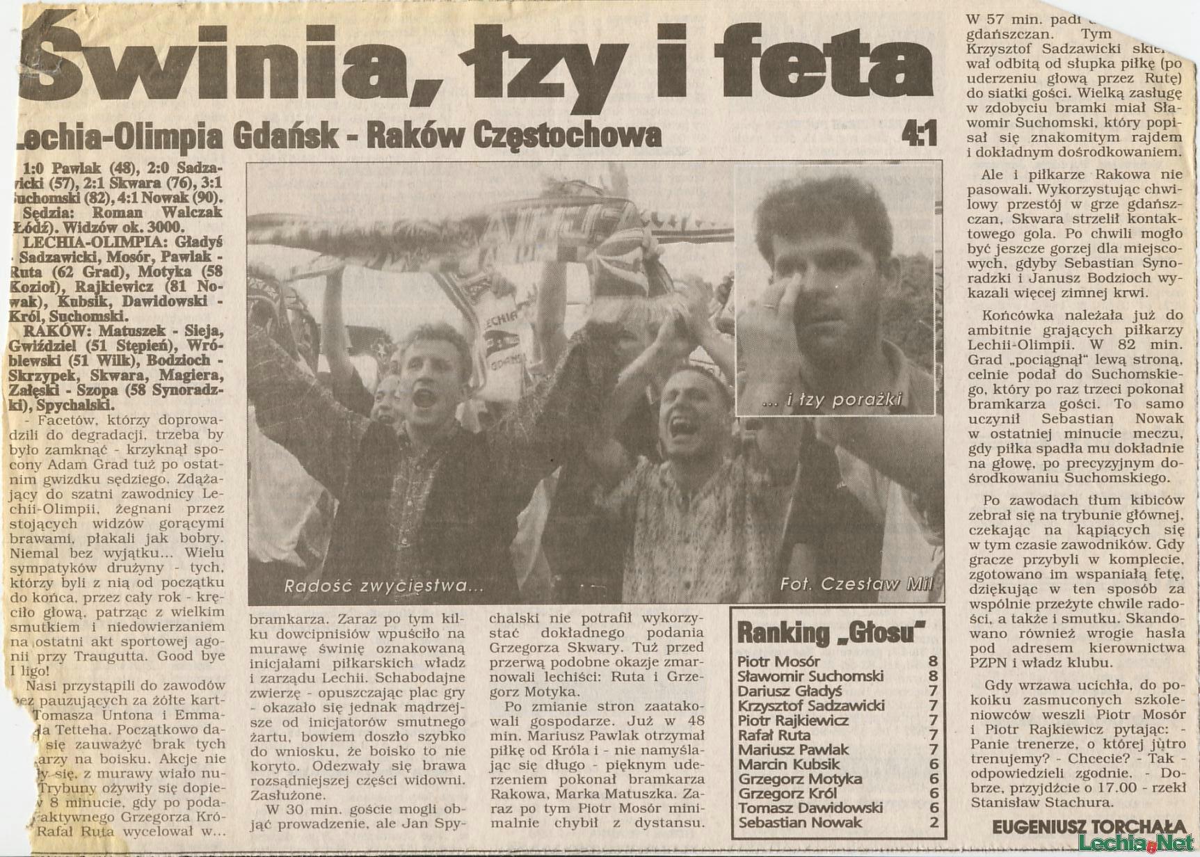 Relacja prasowa z meczu Lechia-Raków Częstochowa