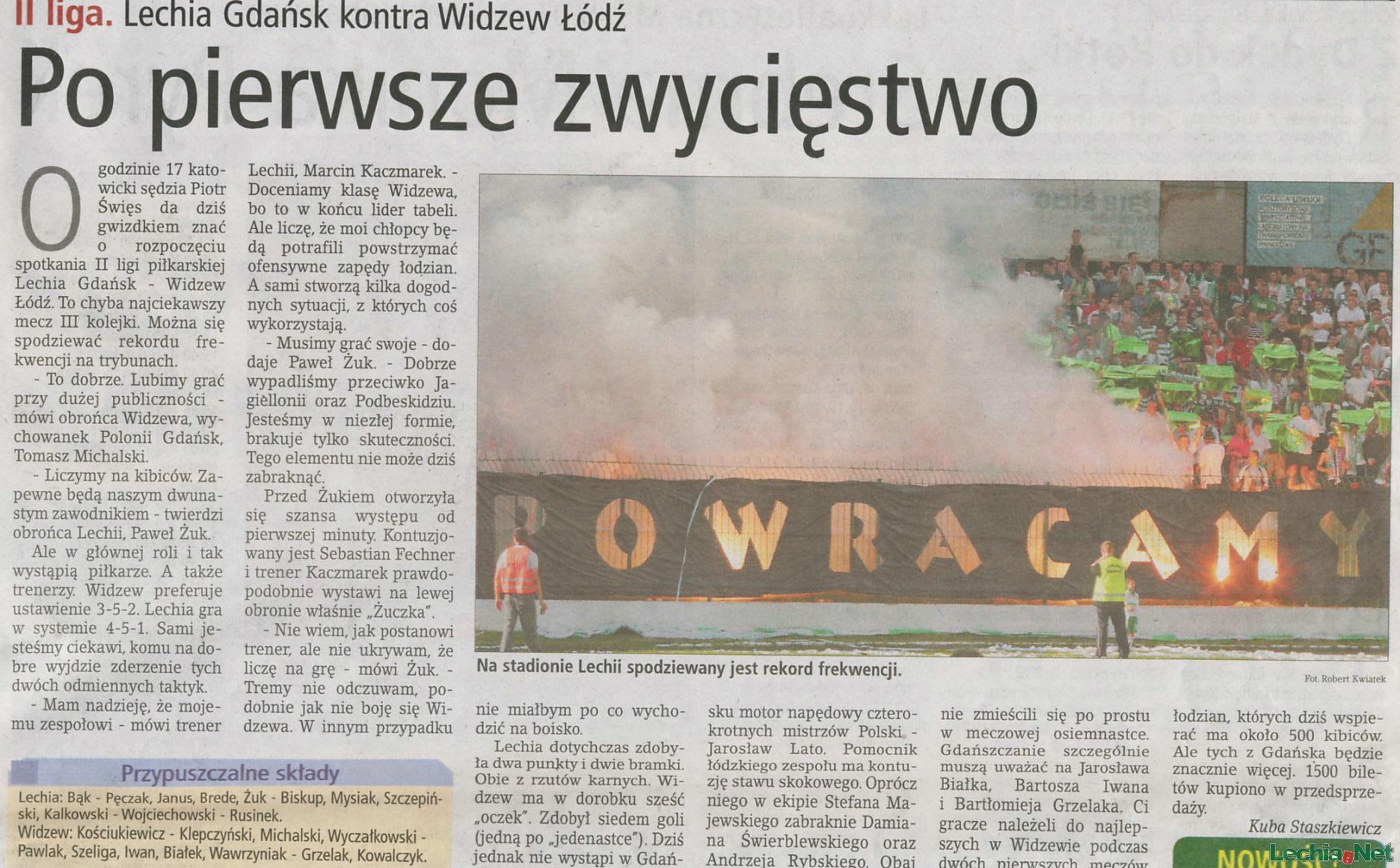 Relacja prasowa z meczu Lechia-Widzew Łódź