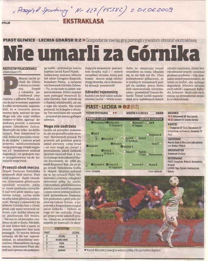 Relacja prasowa z meczu Piast Gliwice-Lechia