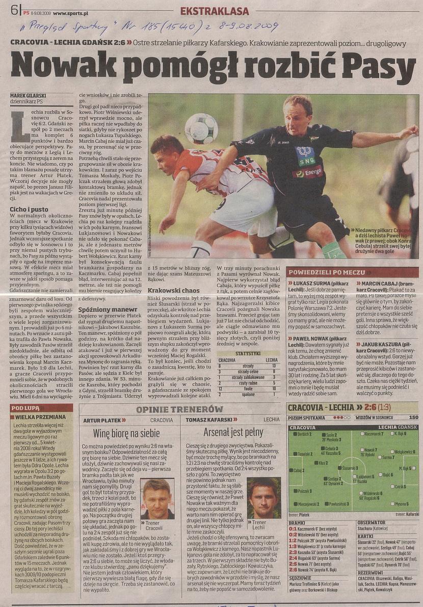 Relacja prasowa z meczu Cracovia-Lechia