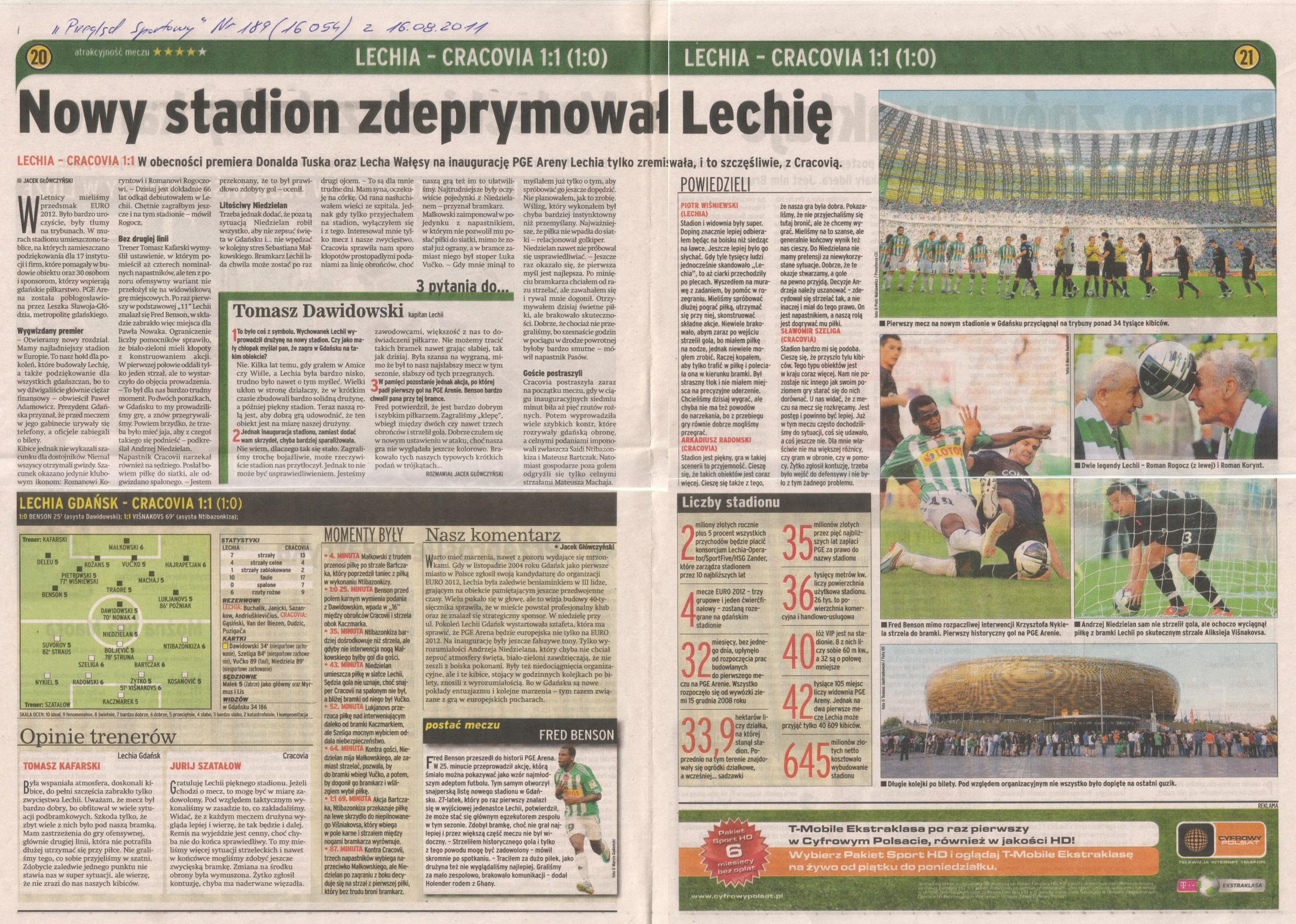 Relacja prasowa z meczu Lechia-Cracovia