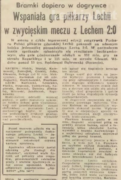 Relacja prasowa z meczu Lechia Gdańsk-Lech Poznań