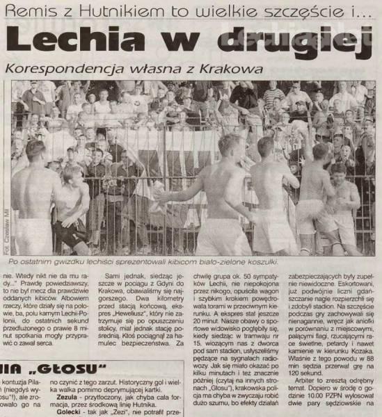 Relacja prasowa z meczu Hutnik Kraków-Lechia