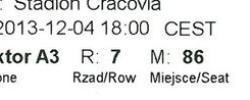 Bilet z sezonu 2013-2014 ze spotkania 2013.12.04.Cracovia-Lechia Gdańsk