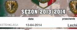 Bilet z sezonu 2013-2014 ze spotkania 2014.04.12.Śląsk Wrocław-Lechia Gdańsk