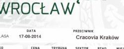 Bilet z sezonu 2014-2015 ze spotkania 2014.08.17.Śląsk Wrocław-Cracovia