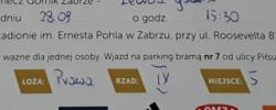 Bilet z sezonu 2014-2015 ze spotkania 2014.09.28.Górnik Zabrze-Lechia Gdańsk