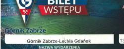 Bilet z sezonu 2015-2016 ze spotkania 2016.03.13.Górnik Zabrze-Lechia Gdańsk