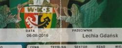 Bilet z sezonu 2016-2017 ze spotkania 2016.08.06.Śląsk Wrocław-Lechia Gdańsk