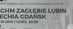 Bilet z sezonu 2016-2017 ze spotkania 016.10.15.Zagłębie Lubin-Lechia Gdańsk