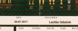 Bilet z sezonu 2017-2018 ze spotkania 2017.07.28.Śląsk Wrocław-Lechia Gdańsk