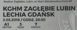 Bilet z sezonu 2017-2018 ze spotkania 2018.03.02.Zagłębie Lubin-Lechia Gdańsk