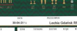 Bilet z sezonu 2017-2018 ze spotkania 2018.04.30.Śląsk Wrocław-Lechia Gdańsk